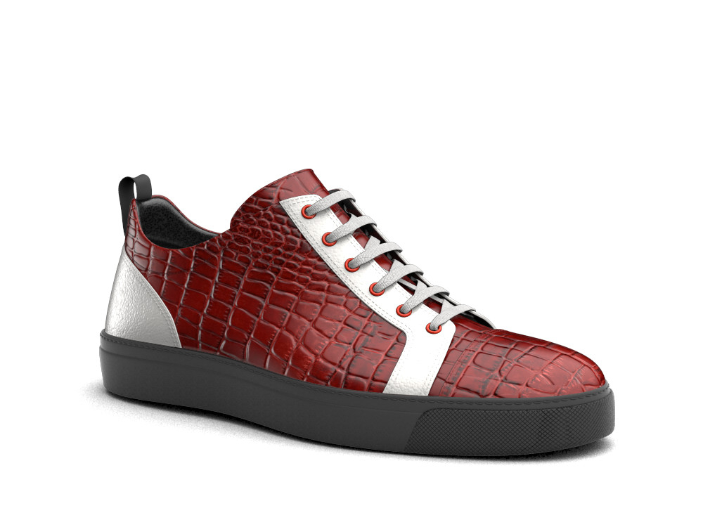 low top sneakers red crocodile print leather white calf