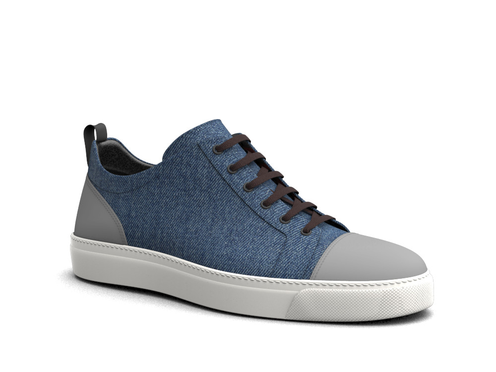 low top sneakers deco leather and denim
