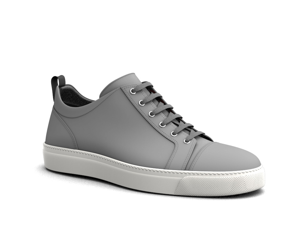low top olive grey deco leather sneakers