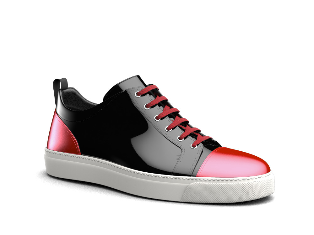 low top black red laminated sneakers