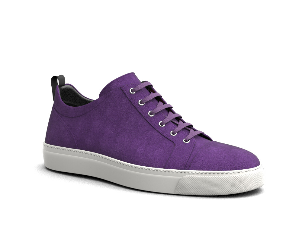 low top purple suede sneakers