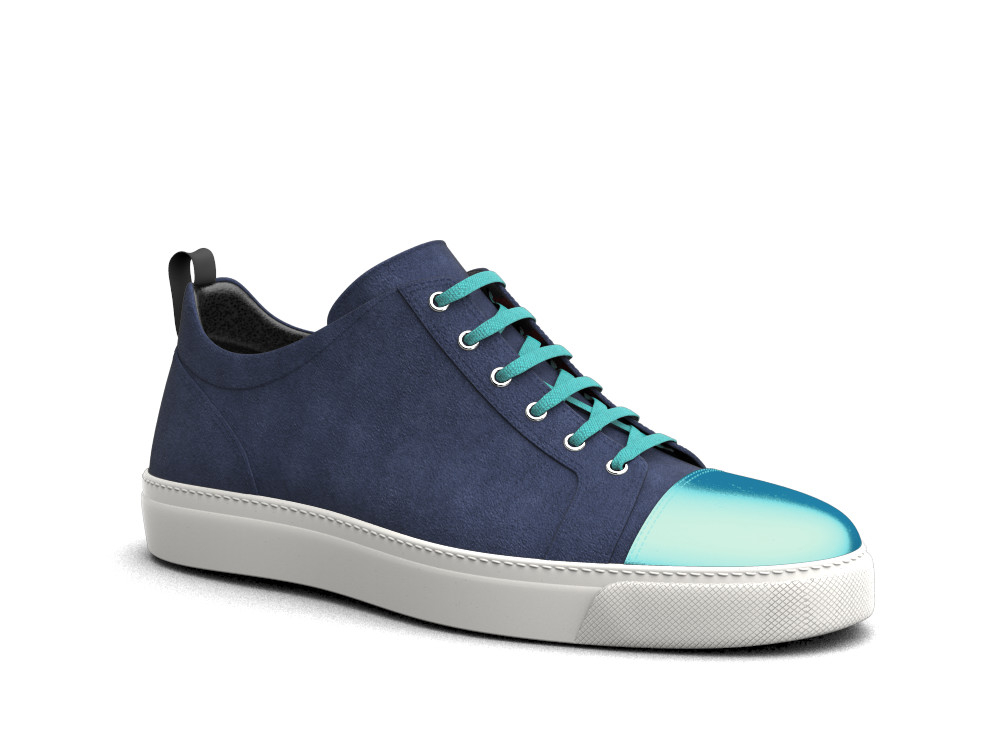 low top bluette suede turquoise sneakers