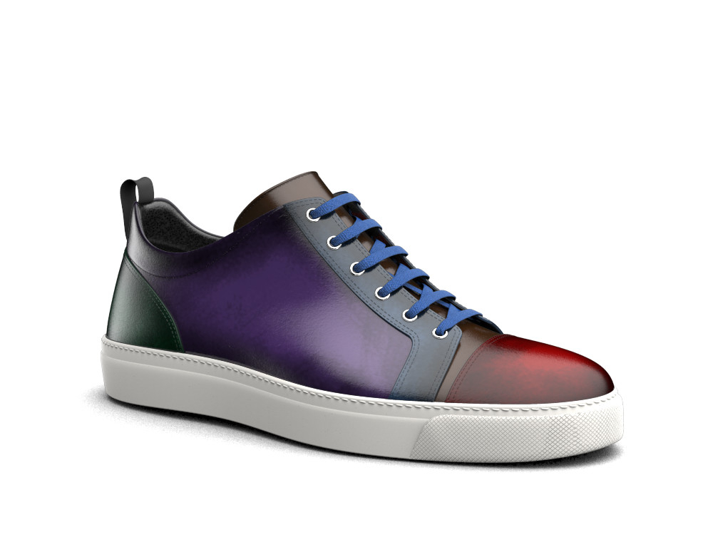 low top sneakers multicolour polished leather