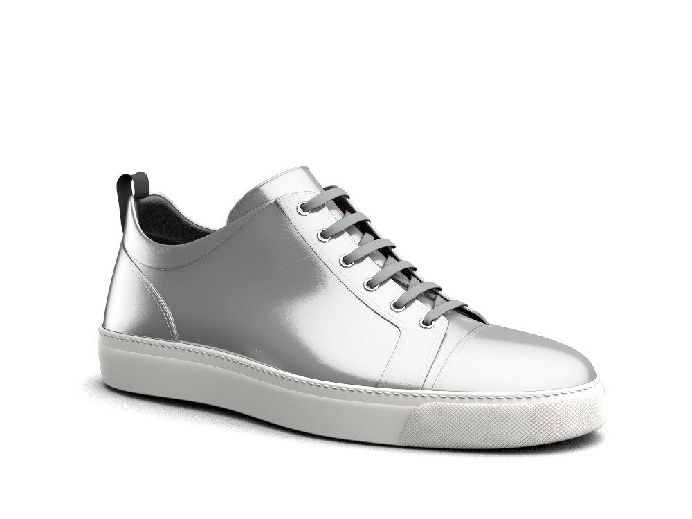 low top sneakers shiny laminated silver leather