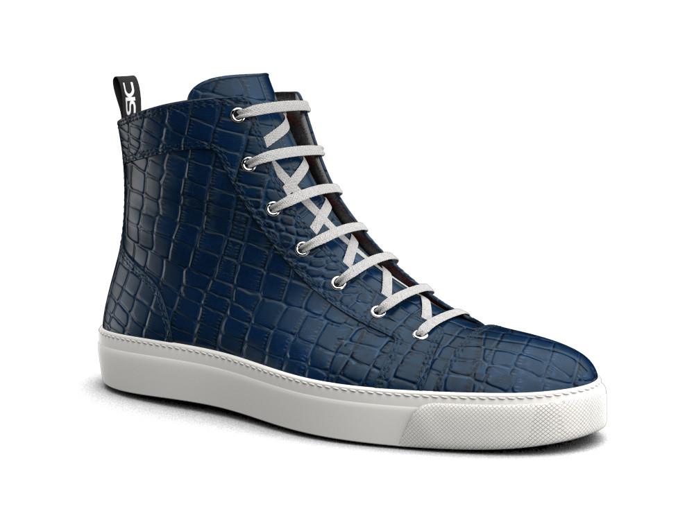 hi top sneakers blue crocodile printed leather