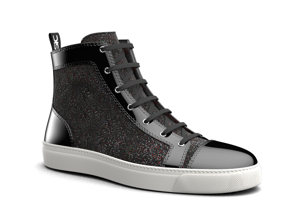 woman black glitter stardust laminated leather hi top sneaker