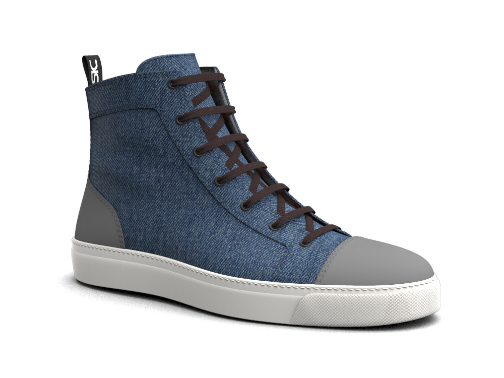 hi top sneakers deco leather and denim