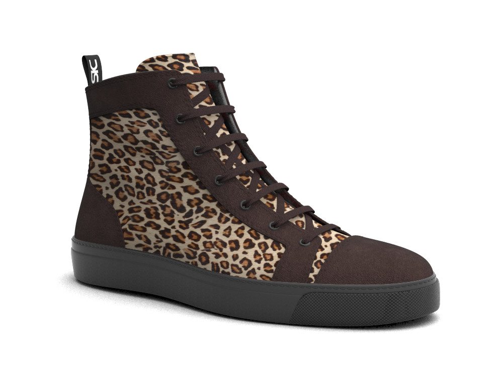 hi top sneakers brown lyxn hairy leather