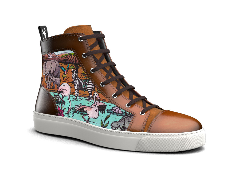 hand painted hi top leather sneakers earth pattern