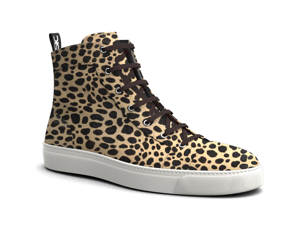 woman leopard print leather hi top sneaker