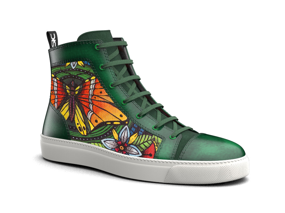 hand painted hi top leather sneakers air pattern
