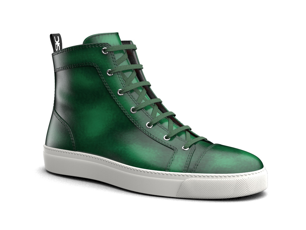 hi top sneakers green polished leather
