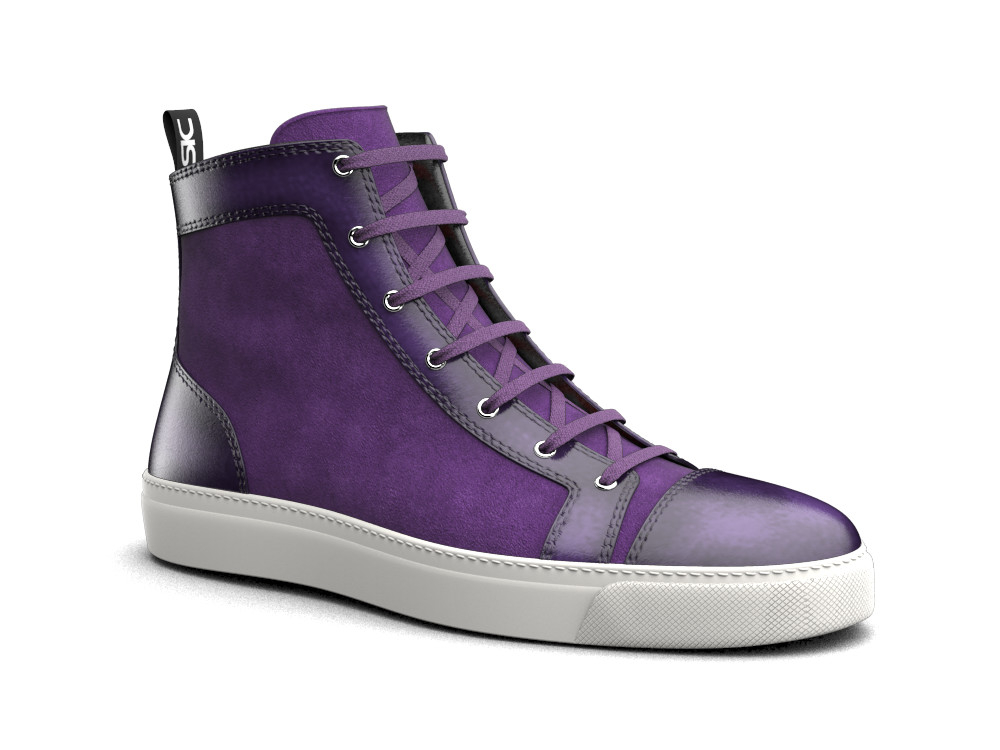 hi top sneakers violet suede polished leather
