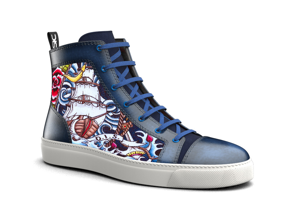 hand painted hi top leather sneakers water pattern