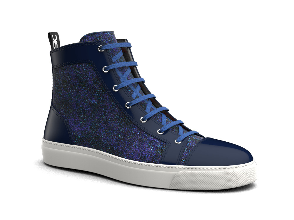 hi top sneakers blue glitter stardust leather