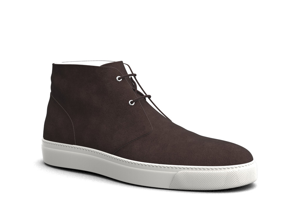 coffee suede leather sneaker boot