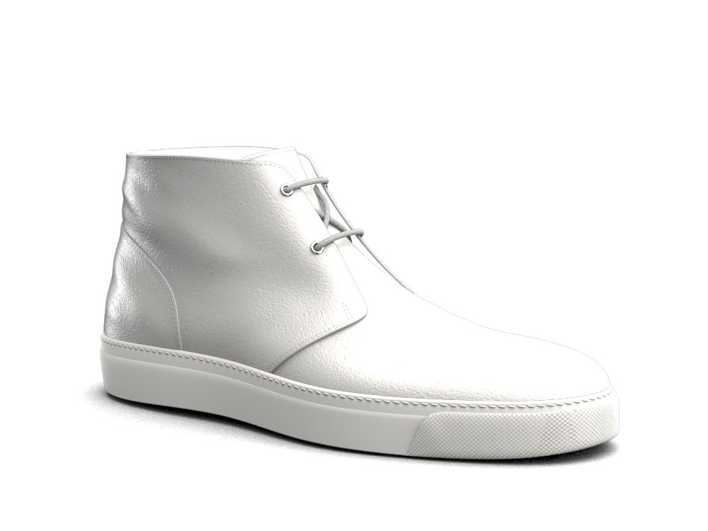 white calf leather sneaker boot