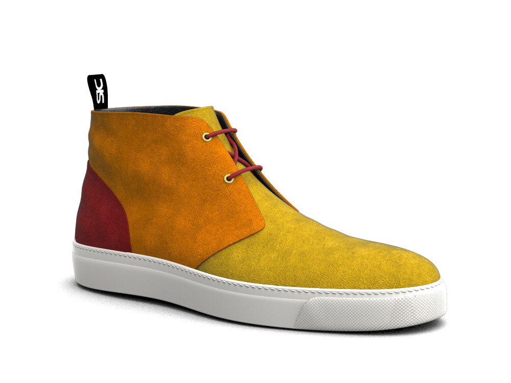 multicolour suede leather sneaker boot