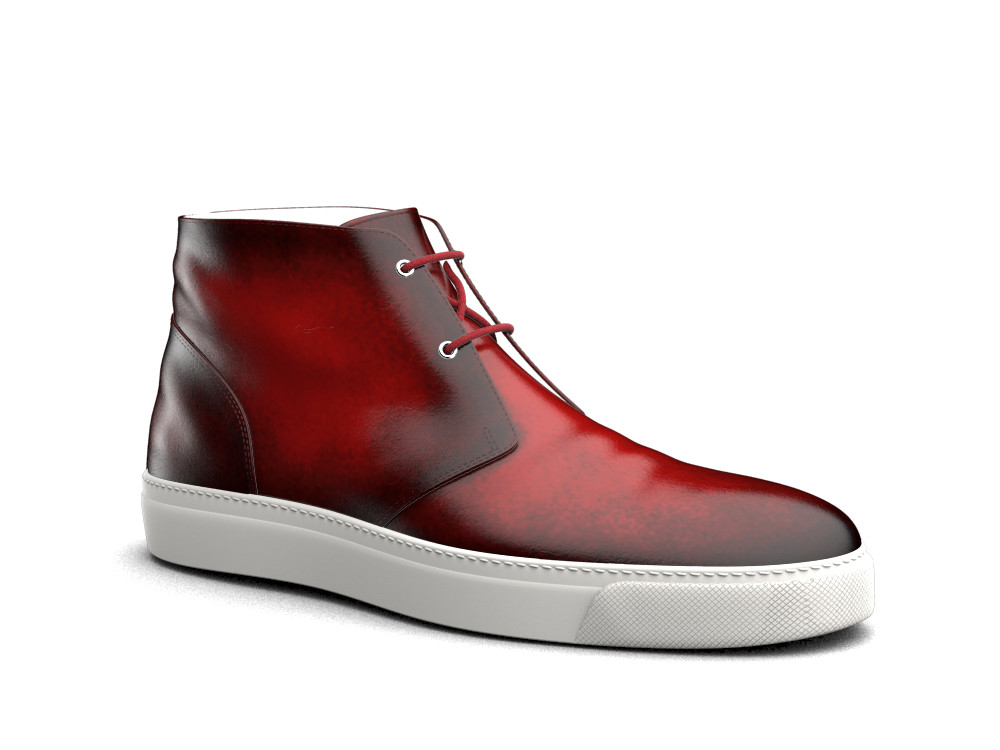red polished leather sneaker boot