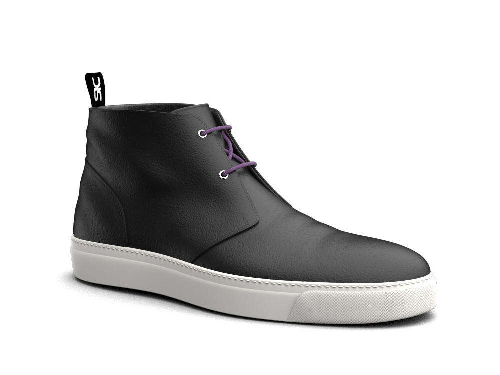 black calf leather sneaker boot