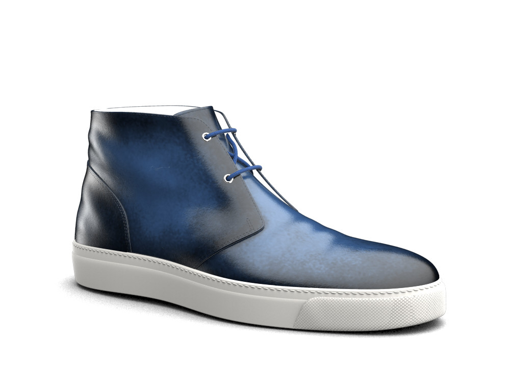 blue polished leather sneaker boot