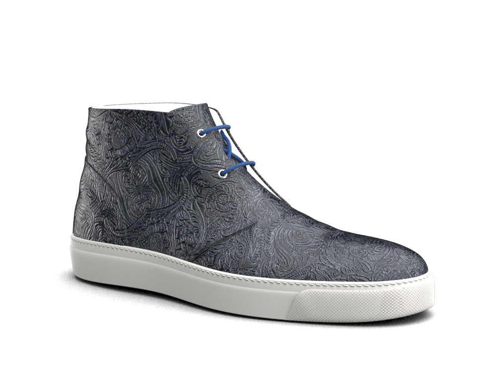 sneakers boot pelle stampa damascato blu