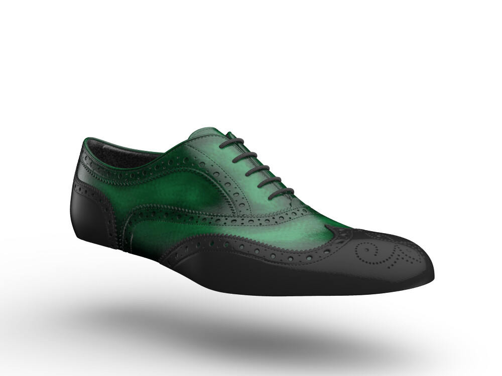 black shiny green polished leather woman oxford shoes