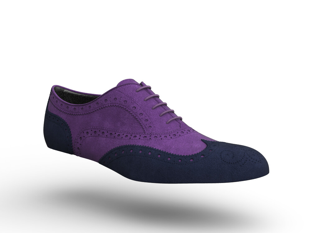 blue purple suede leather woman oxford shoes