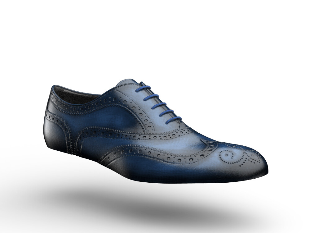 blue polished leather woman oxford shoes