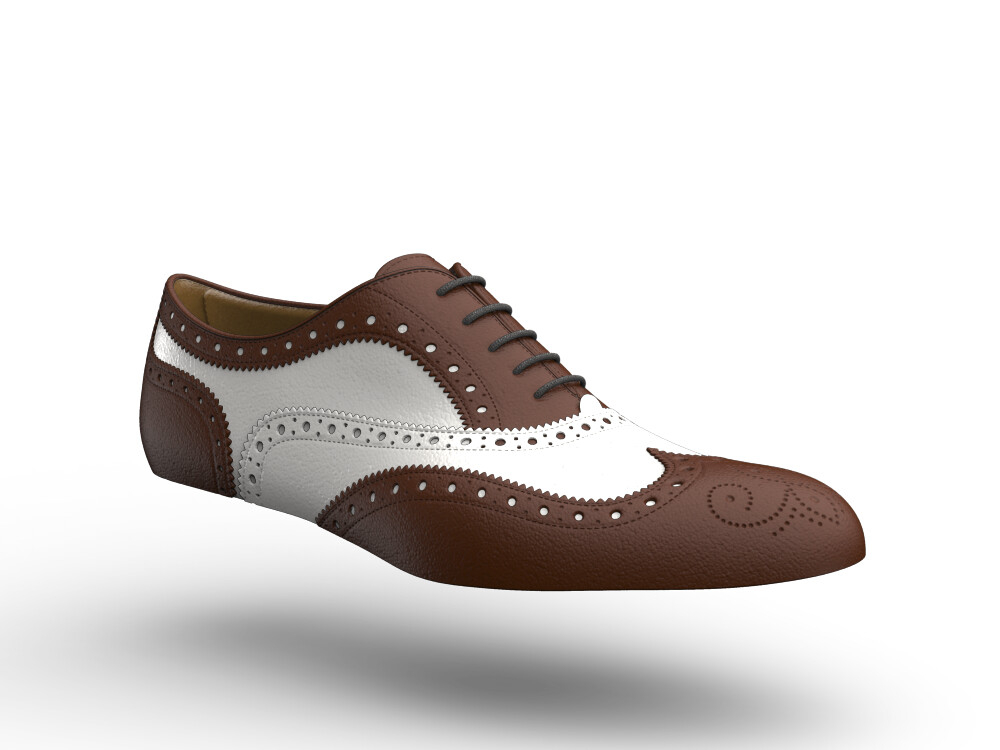 white brown leather woman oxford shoes bicolor
