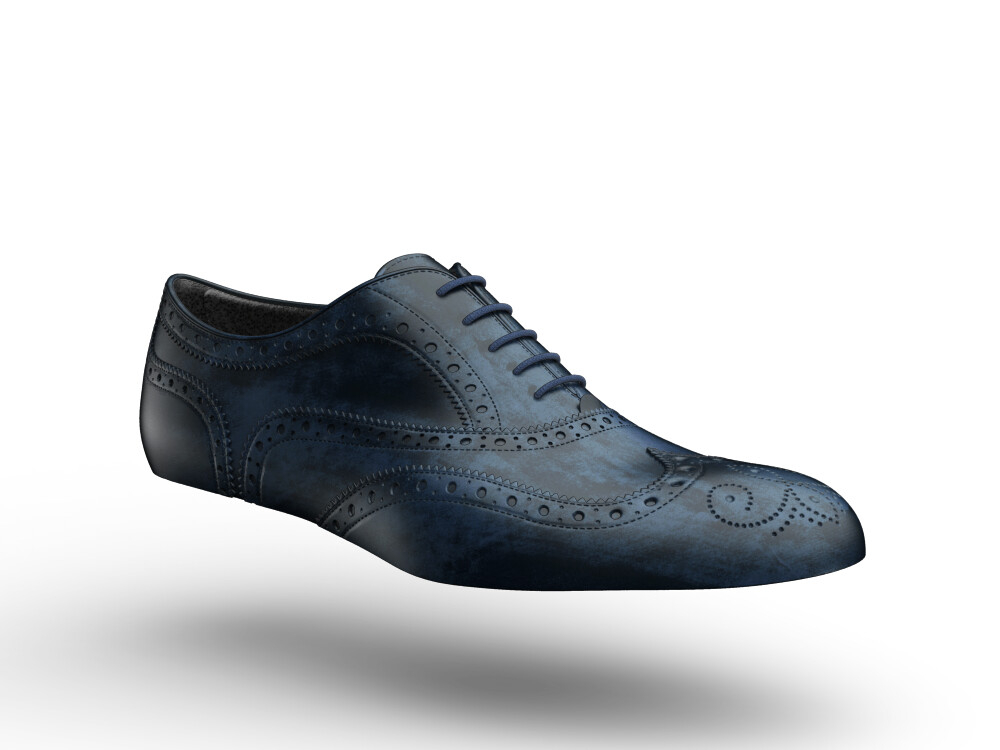blue polished woman oxford wing brogue