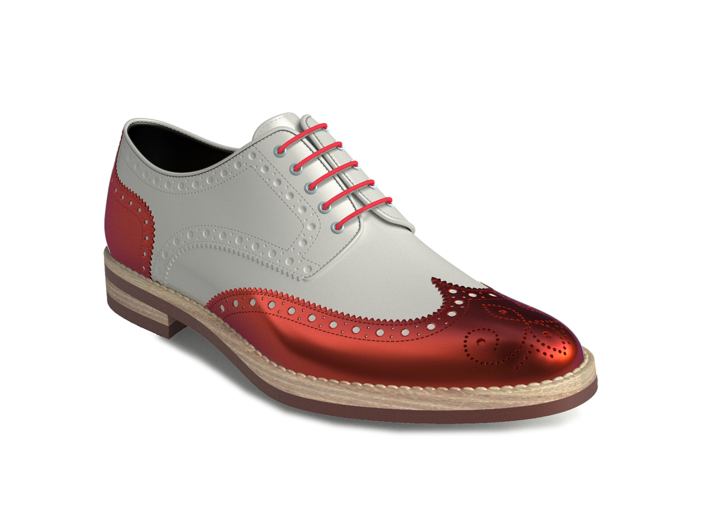 red laminated white shiny leather women derby shoes