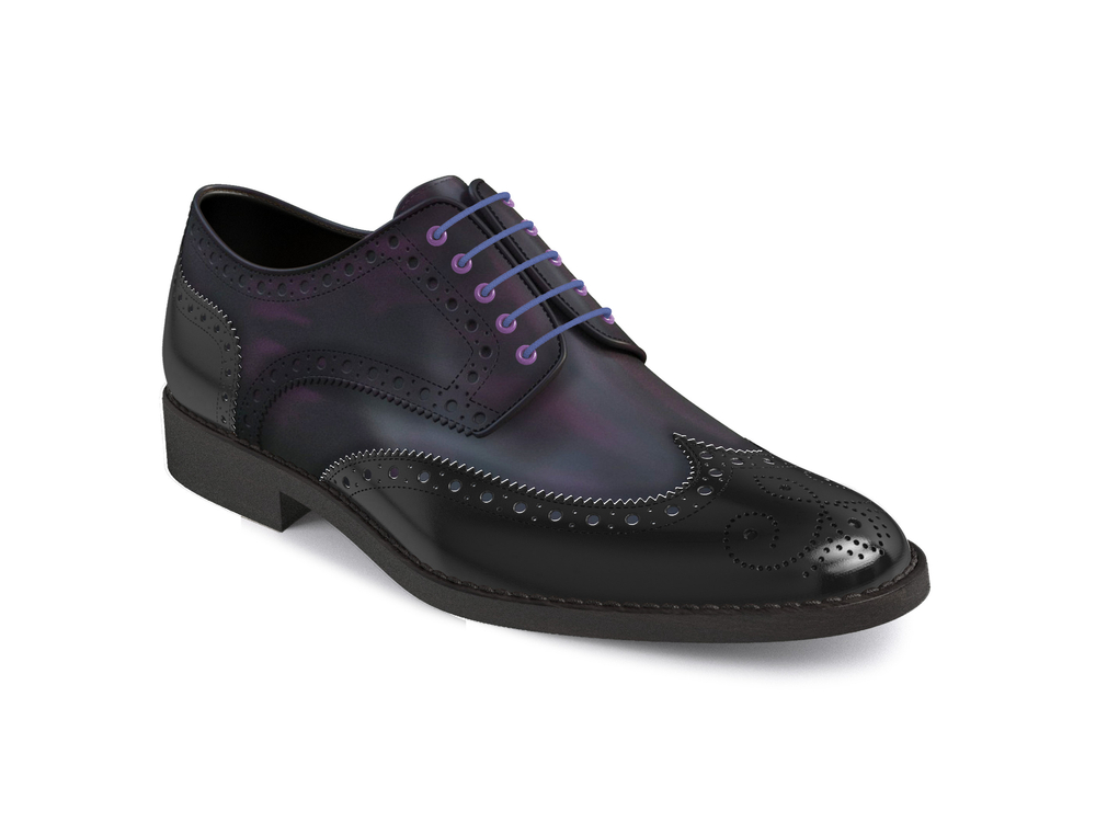 purple polished black shiny leather women derby shoes