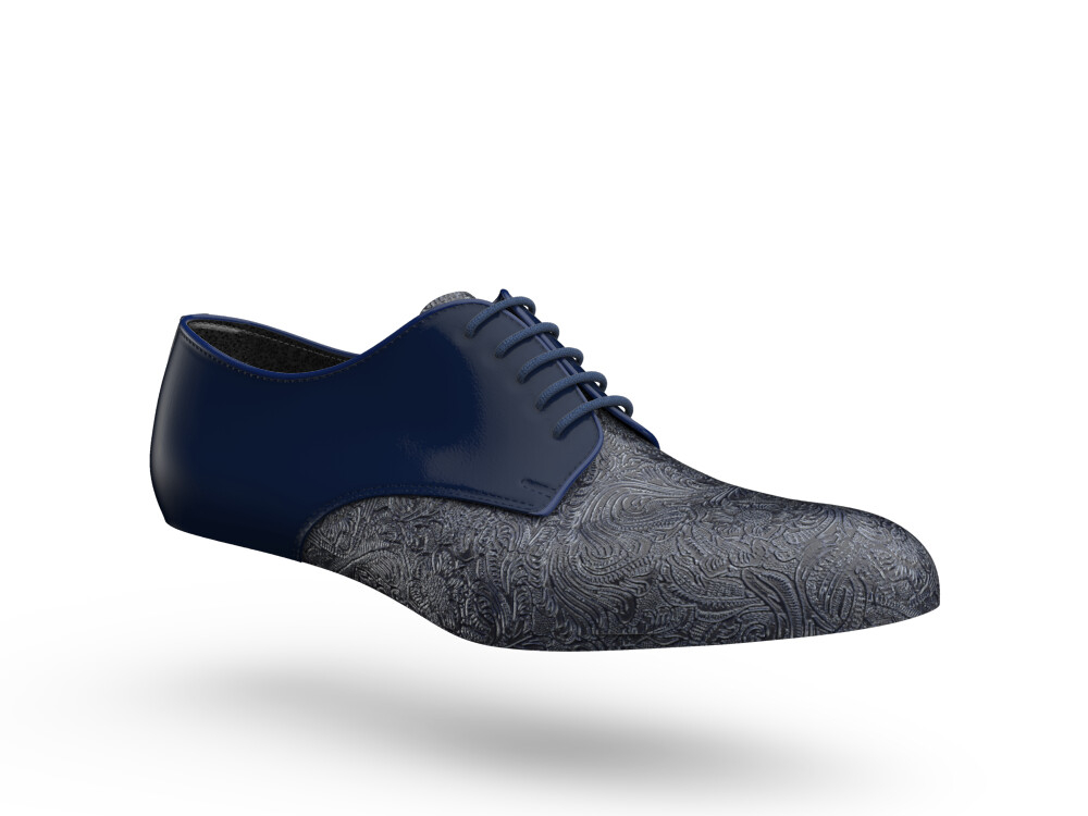 blue shiny damask leather woman derby