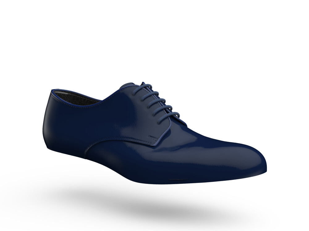 blue shiny leather woman derby