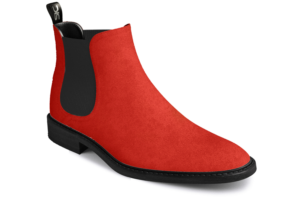 red suede woman chelsea boots