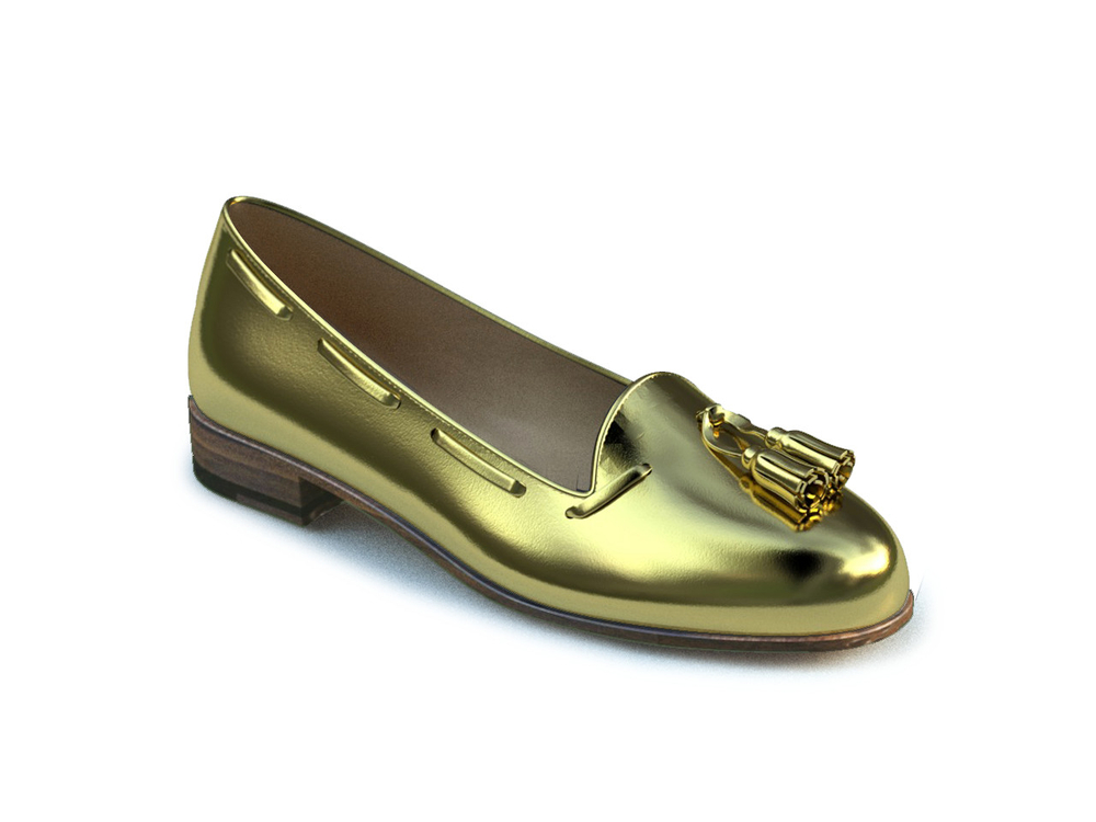 gold woman tassel loafer