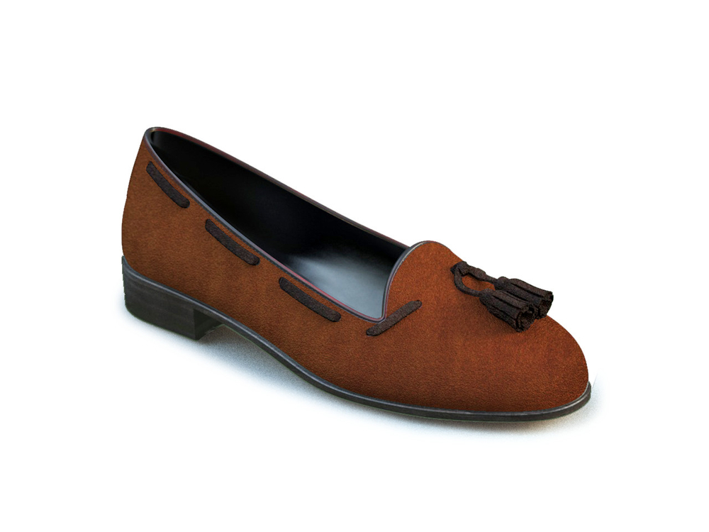 light brown suede woman tassel loafer