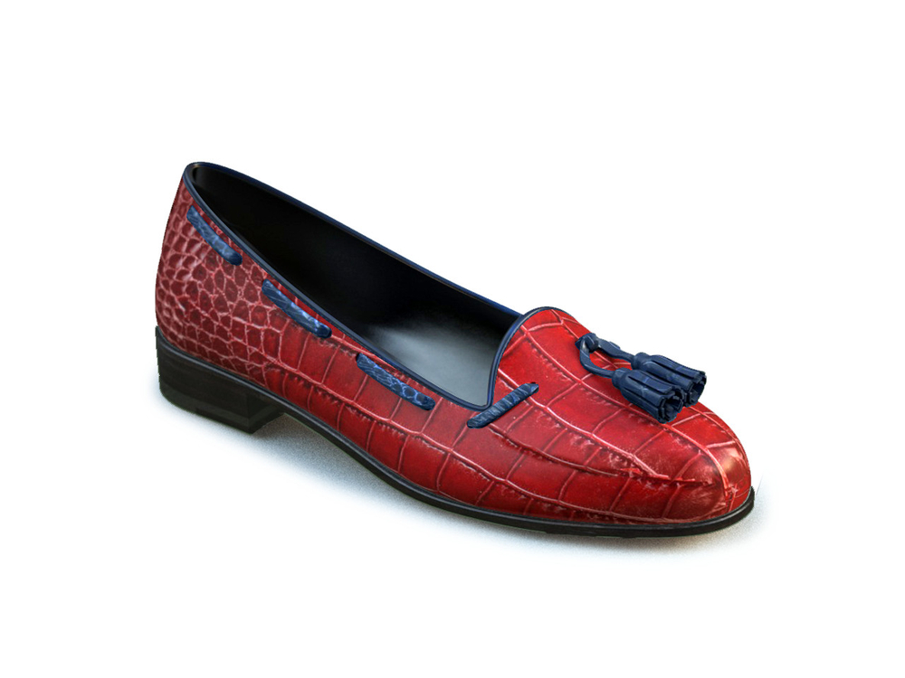 red crocodile leather woman blue tassel loafer