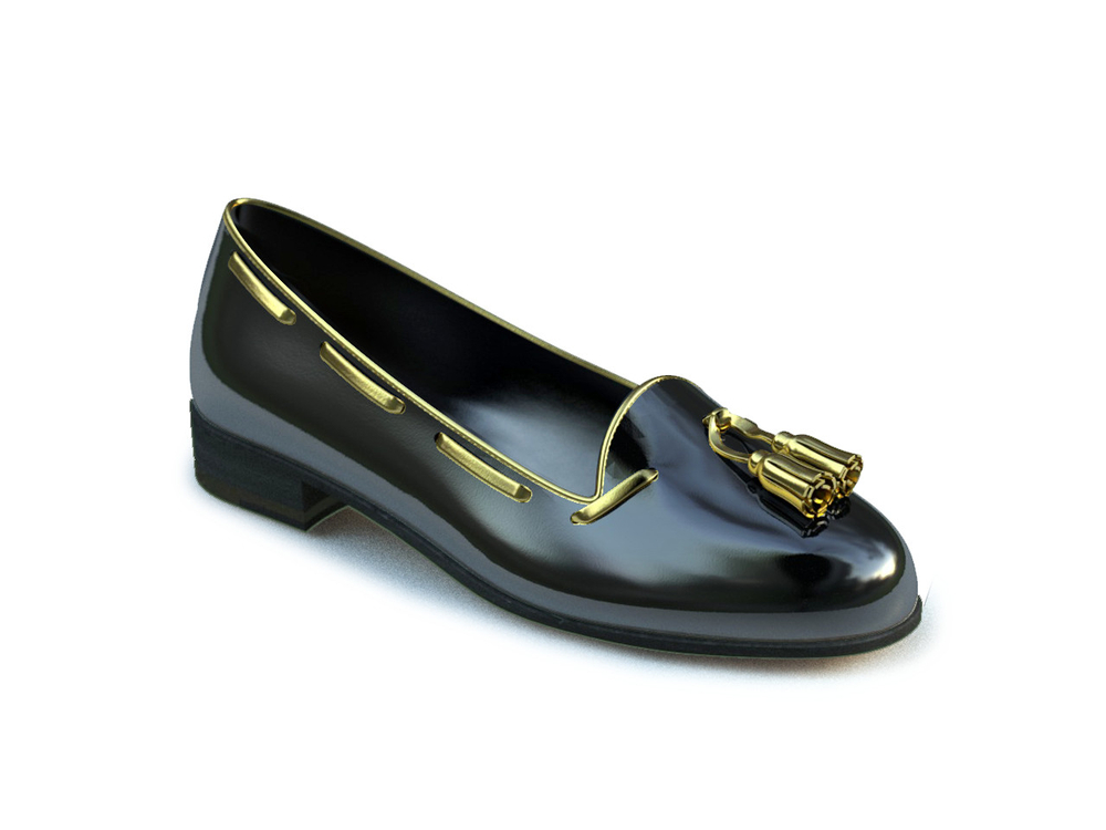black patent leather woman gold tassel loafer