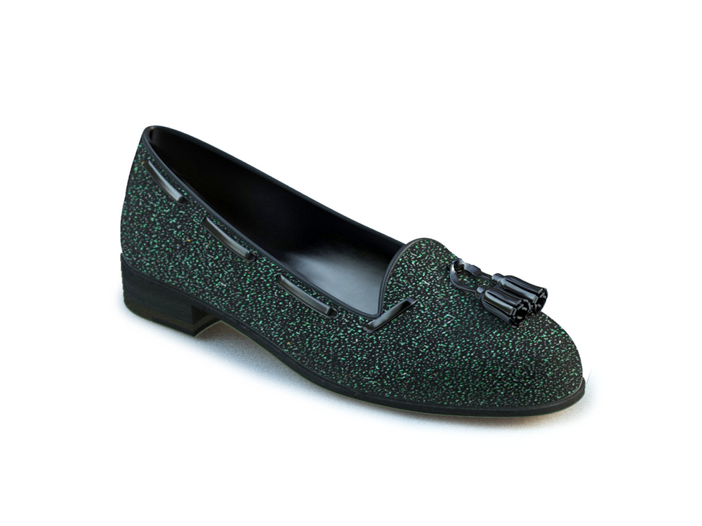 green glitter stardust leather woman tassel loafer
