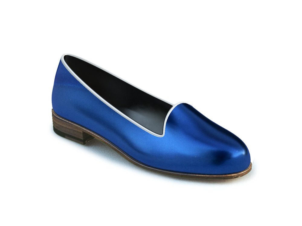 navy laminated woman mocassins