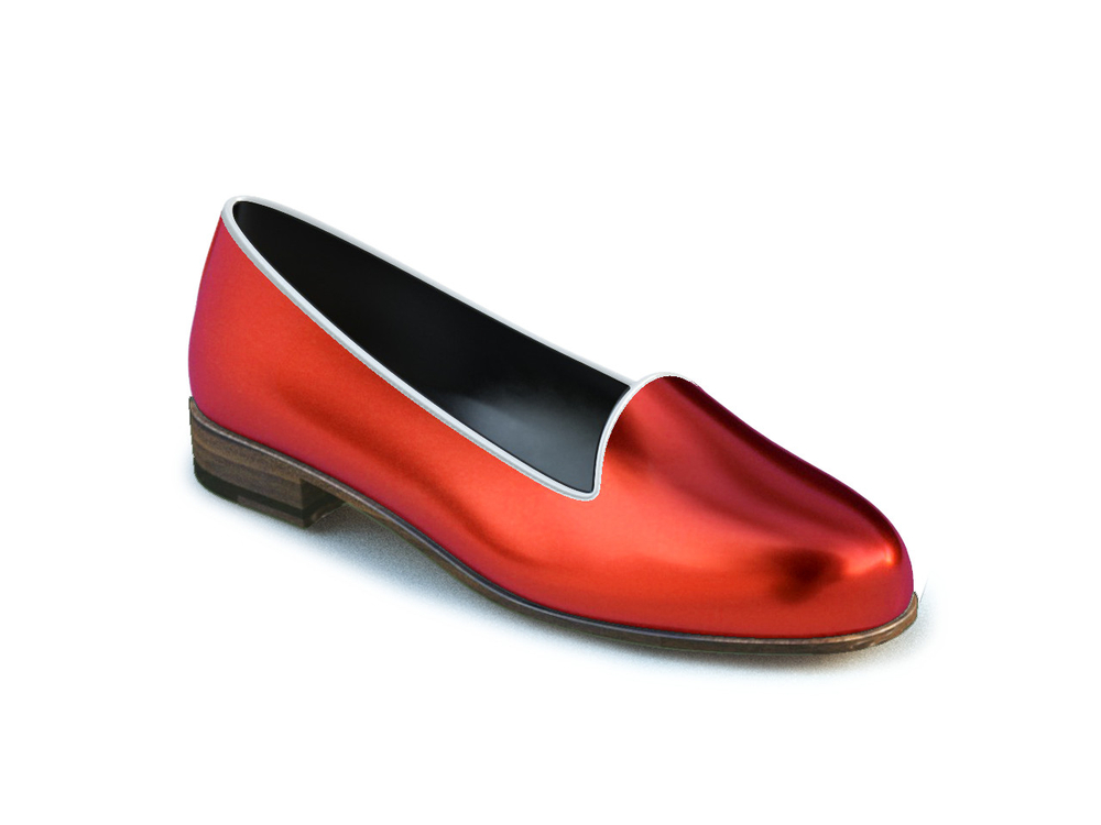 red laminated woman mocassin