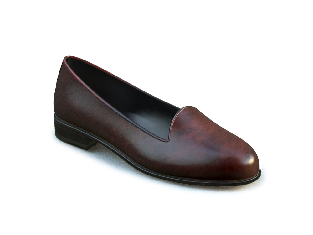 coffee deco leather woman mocassin