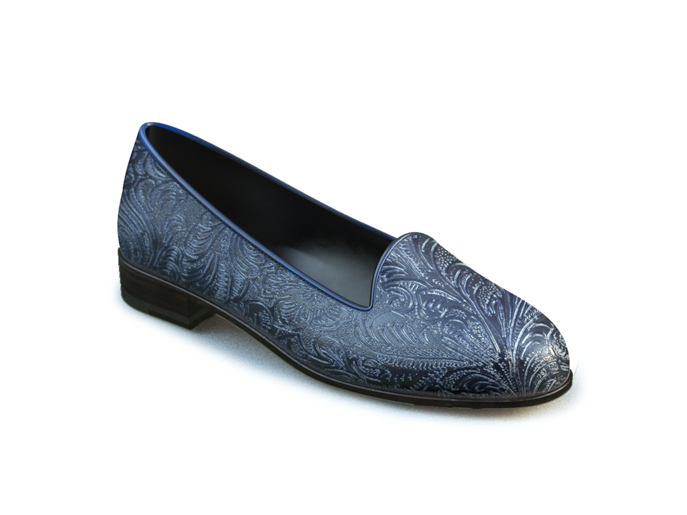 navy damask printed leather woman mocassin