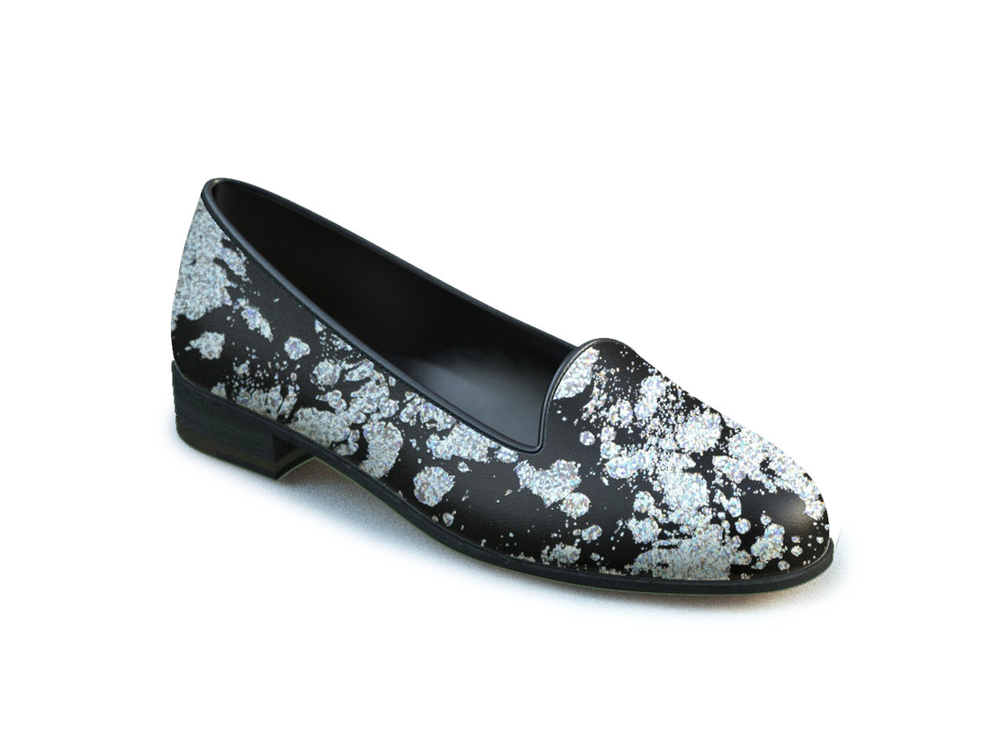 silver spray print woman mocassin