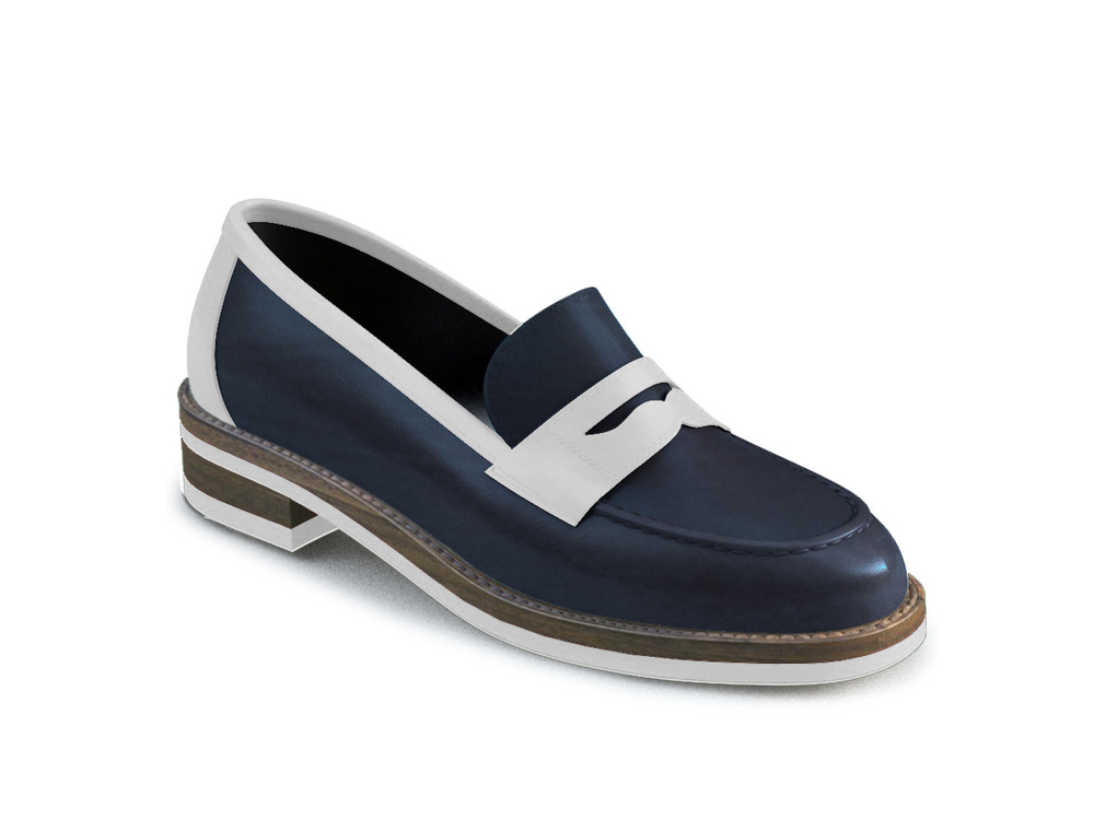 blue leather women collage shoes