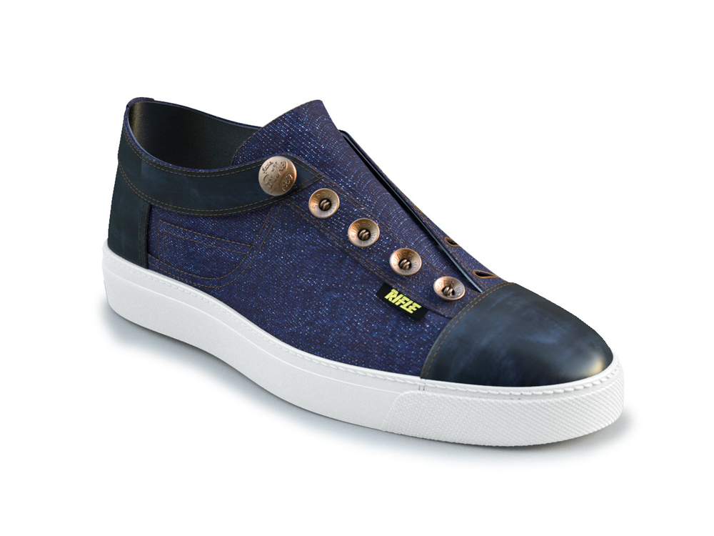 dark blue denim blue deco leather slip on sneaker