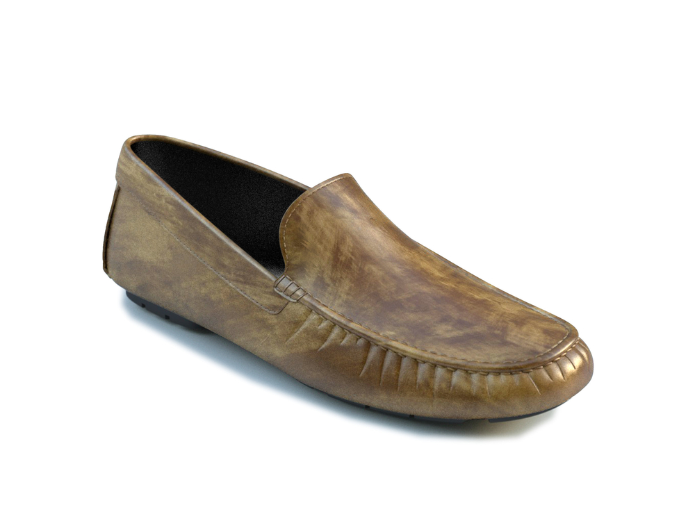 olive green deco leather driver shoes
