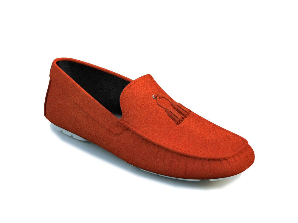 orange suede tassel driver shoes